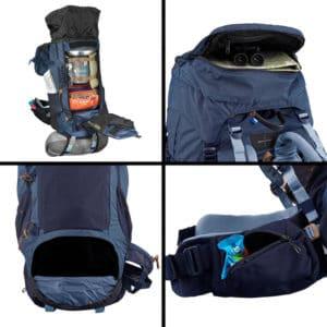 compartiments d'un sac de randonnée