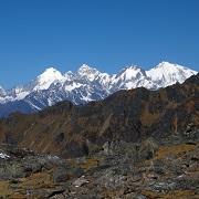 vue sur les sommets au langtang, népal