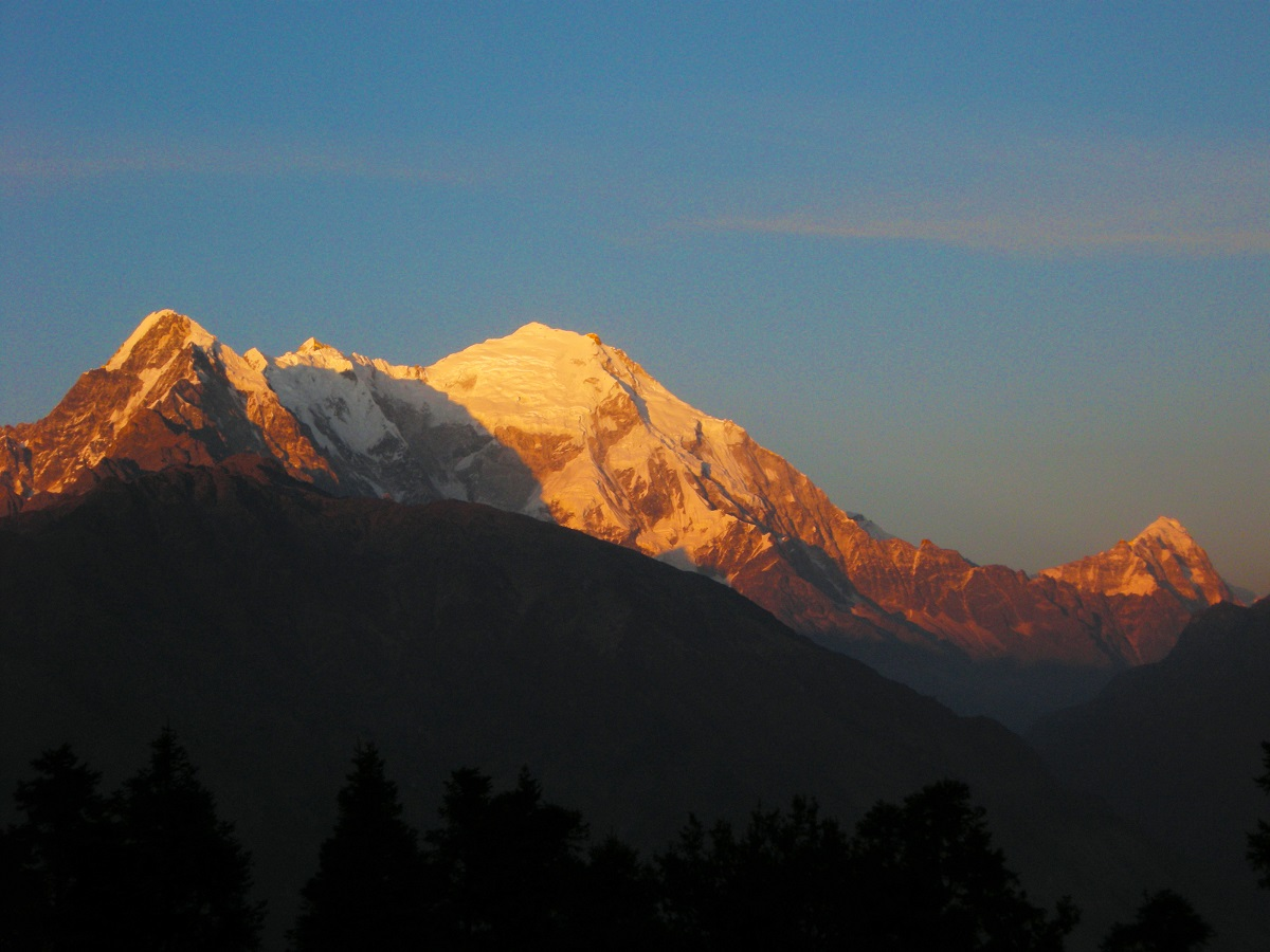 Coucher de soleil langtang népal