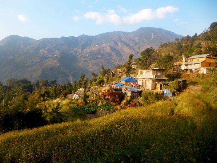 Village au Langtang pendant un trek au Népal