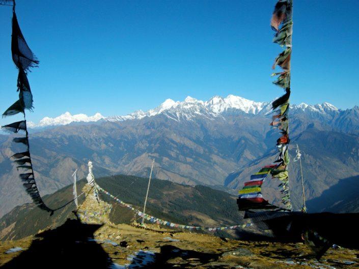 Vue sur les sommets du népal au langtang