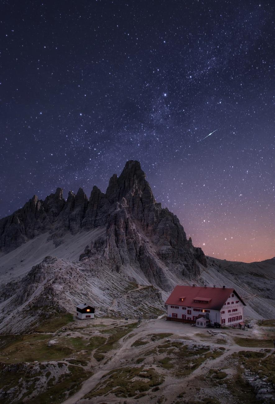 Refuge de montagne dans les Dolomites
