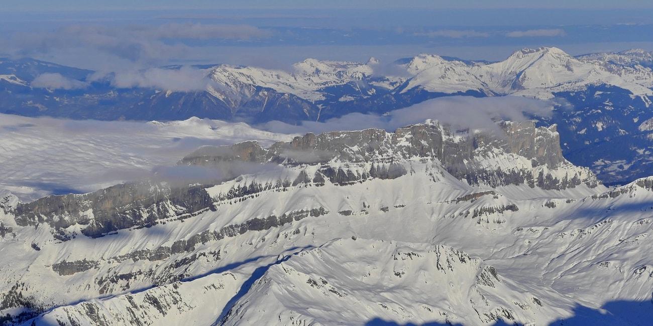 La chaîne des Fiz vu depuis l'Aiguille du Midi