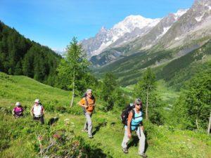 Dans le Val ferret, vers le refuge Bonnatti tour du mont blanc