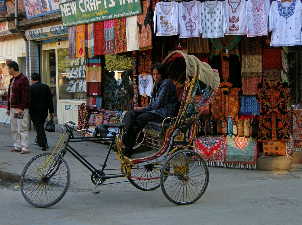 Rickshaw Katmandou au Népal