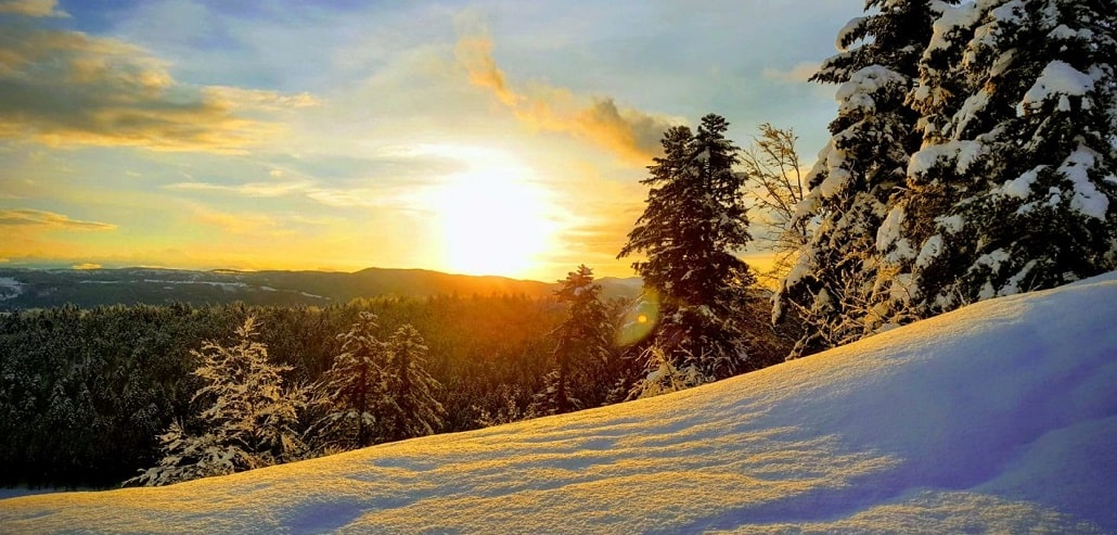 Coucher de soleil sur le Pleateau de Hauteville, Jura-min