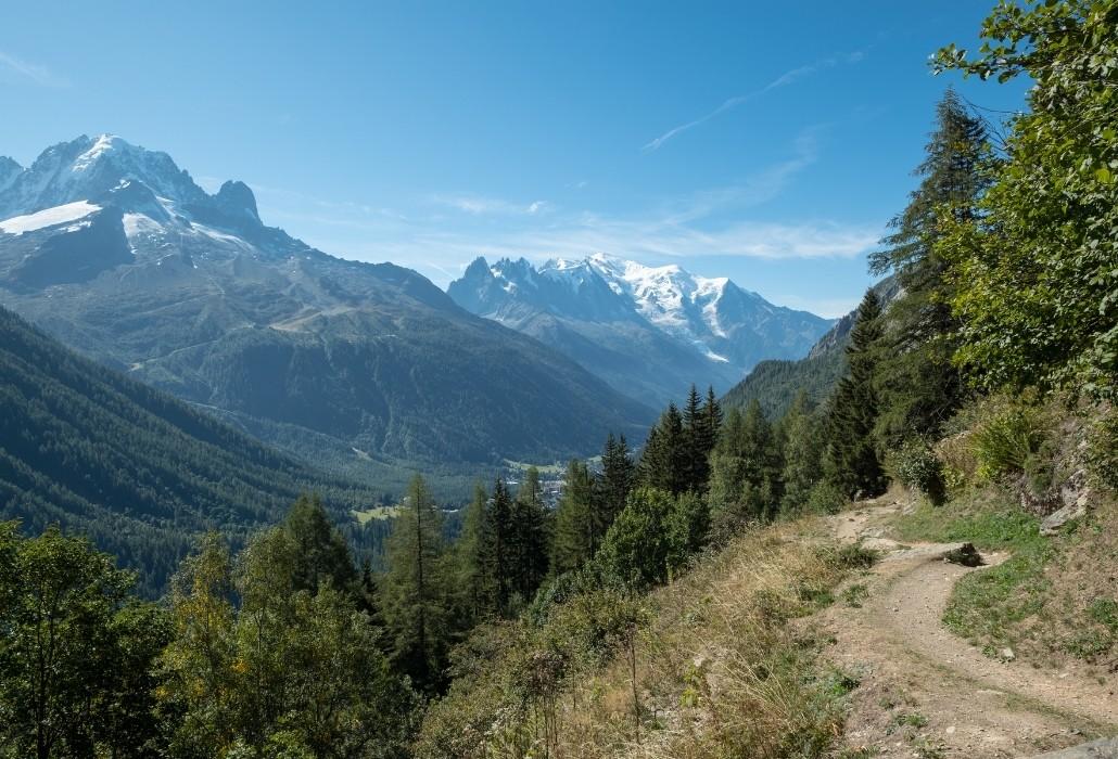 Vue sur l'Aiguillette des Posettes sur un sentier de randonnée près de Chamonix