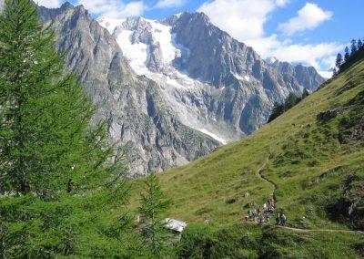 Vue sur le Tour du Mont Blanc en trail
